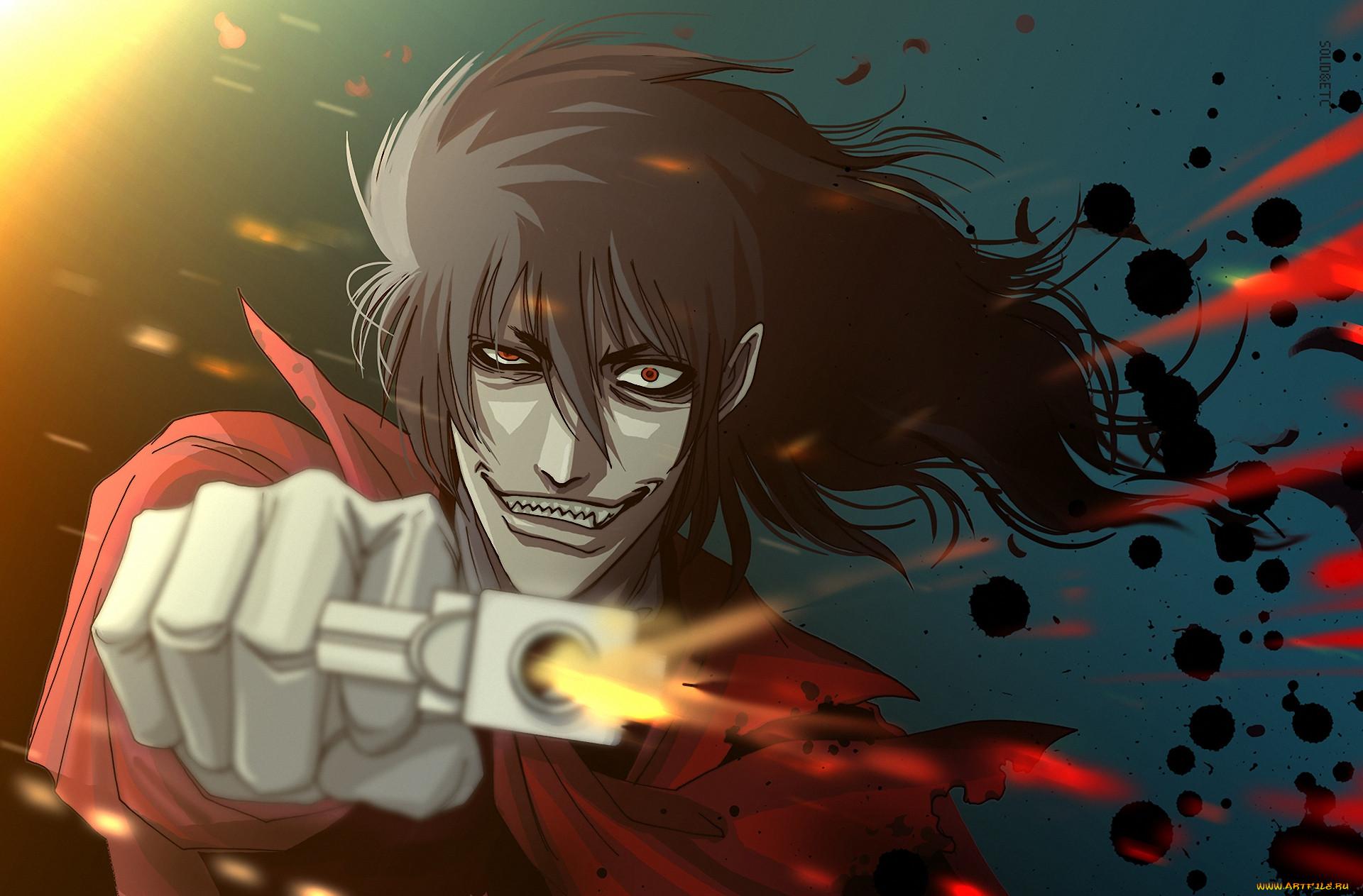 аниме, hellsing, dracula, vampire, alucard, дракула, вампир, взгляд, алукард, выстрел, пистолет